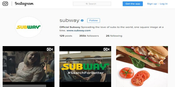 Advertisment of subway on instagram