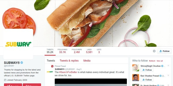 Advertisment of subway on twitter
