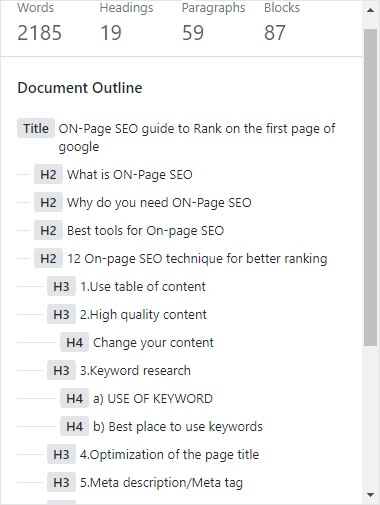 table of content for on-page seo